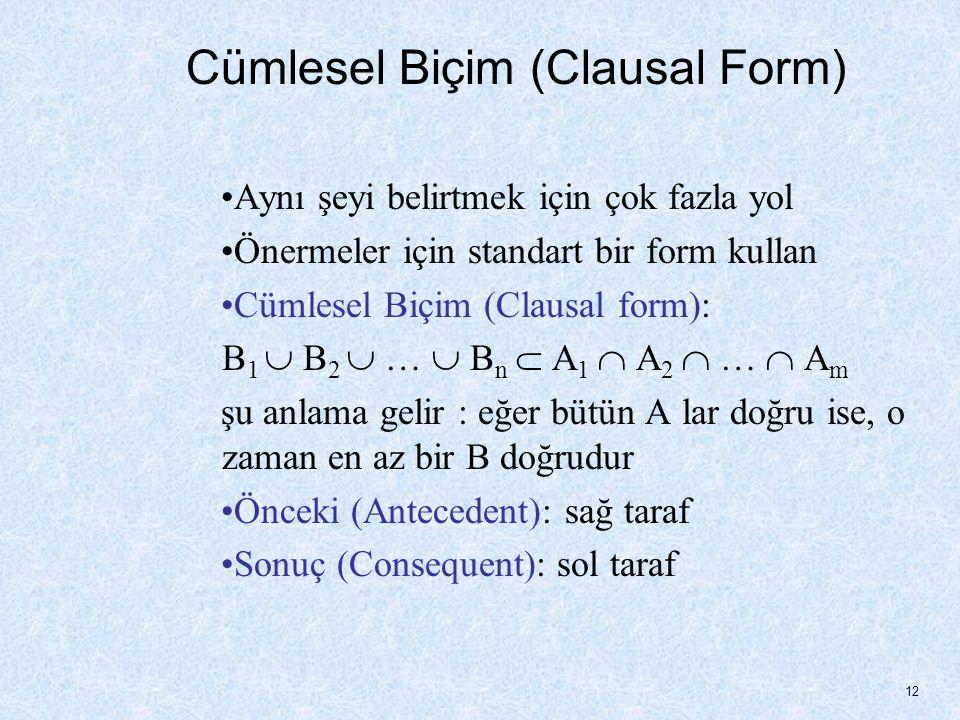Cümlesel Biçim (Clausal Form) Aynı şeyi belirtmek için çok fazla yol Önermeler için standart bir form kullan Cümlesel Biçim (Clausal form): B 1  B 2  …  B n  A 1  A 2  …  A m şu anlama gelir : eğer bütün A lar doğru ise, o zaman en az bir B doğrudur Önceki (Antecedent): sağ taraf Sonuç (Consequent): sol taraf 12