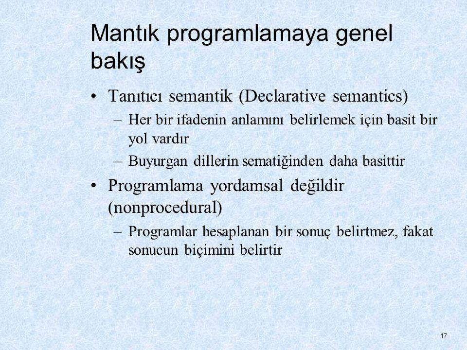 Mantık programlamaya genel bakış Tanıtıcı semantik (Declarative semantics) –Her bir ifadenin anlamını belirlemek için basit bir yol vardır –Buyurgan dillerin sematiğinden daha basittir Programlama yordamsal değildir (nonprocedural) –Programlar hesaplanan bir sonuç belirtmez, fakat sonucun biçimini belirtir 17
