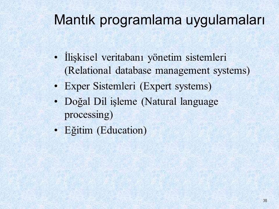 Mantık programlama uygulamaları İlişkisel veritabanı yönetim sistemleri (Relational database management systems) Exper Sistemleri (Expert systems) Doğal Dil işleme (Natural language processing) Eğitim (Education) 38