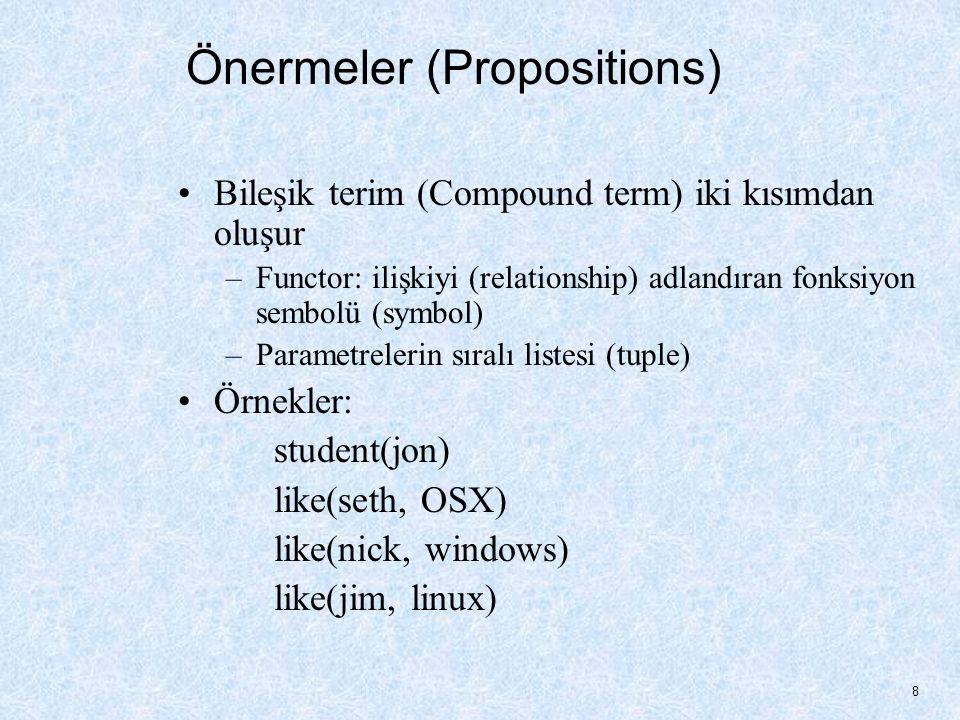 Önermeler (Propositions) Bileşik terim (Compound term) iki kısımdan oluşur –Functor: ilişkiyi (relationship) adlandıran fonksiyon sembolü (symbol) –Parametrelerin sıralı listesi (tuple) Örnekler: student(jon) like(seth, OSX) like(nick, windows) like(jim, linux) 8