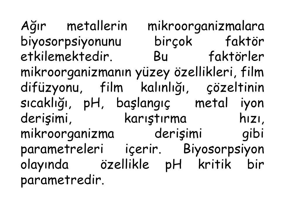 Ağır metallerin mikroorganizmalara biyosorpsiyonunu birçok faktör etkilemektedir. Bu faktörler mikroorganizmanın yüzey özellikleri, film difüzyonu, fi