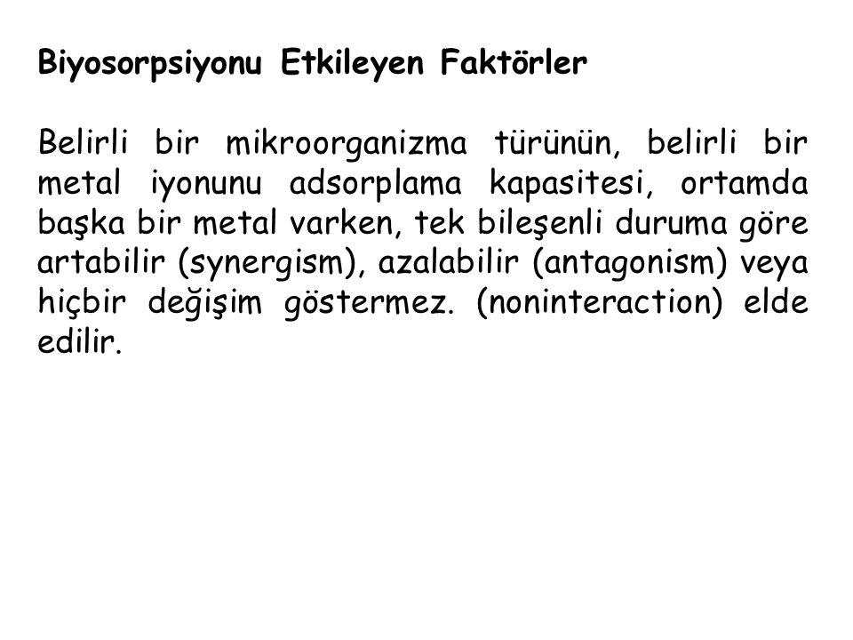Biyosorpsiyonu Etkileyen Faktörler Belirli bir mikroorganizma türünün, belirli bir metal iyonunu adsorplama kapasitesi, ortamda başka bir metal varken