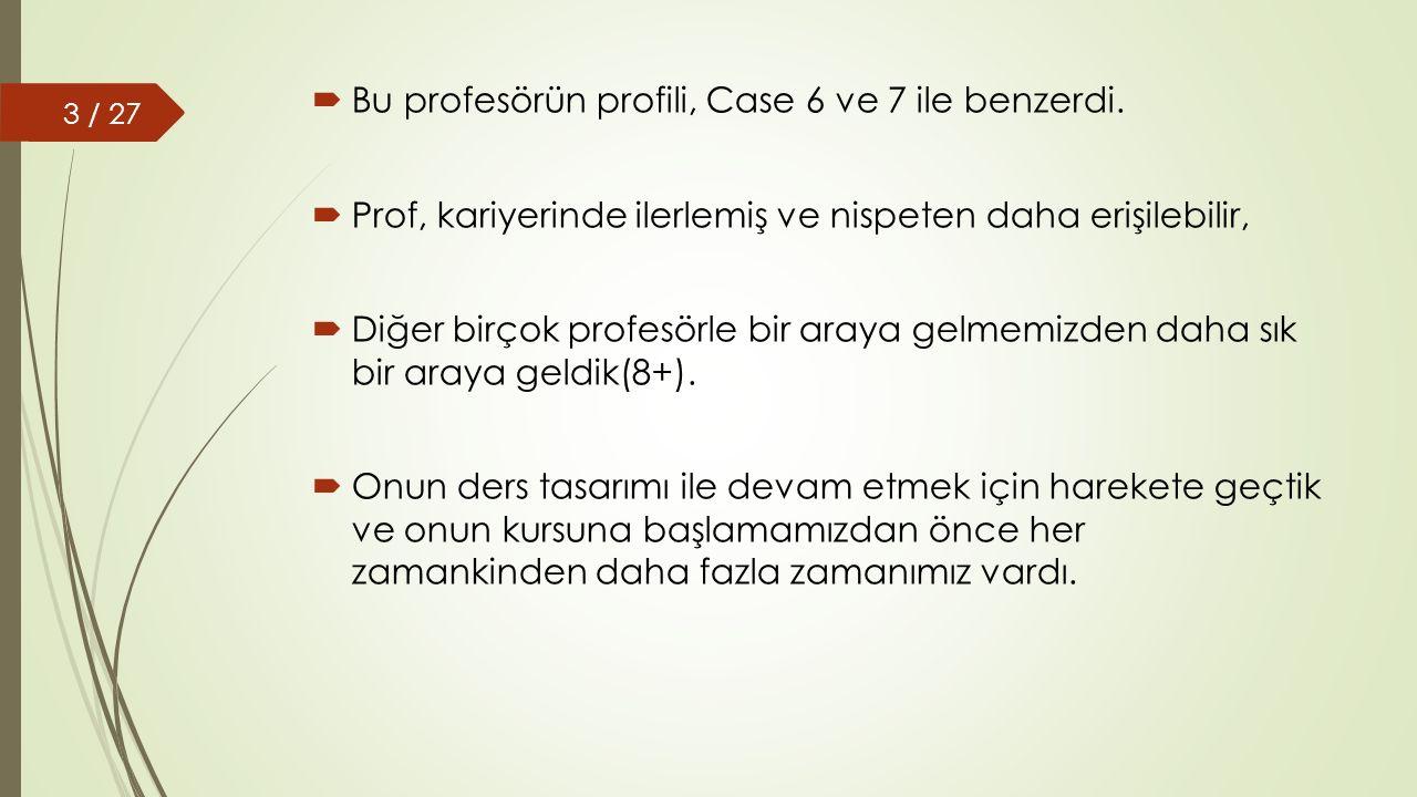  Prof'un tasarım ve çevrimiçi öğretim bilgisi sınırlıydı ve mevcut ders içeriği sadece genel hedefleri içeriyordu.