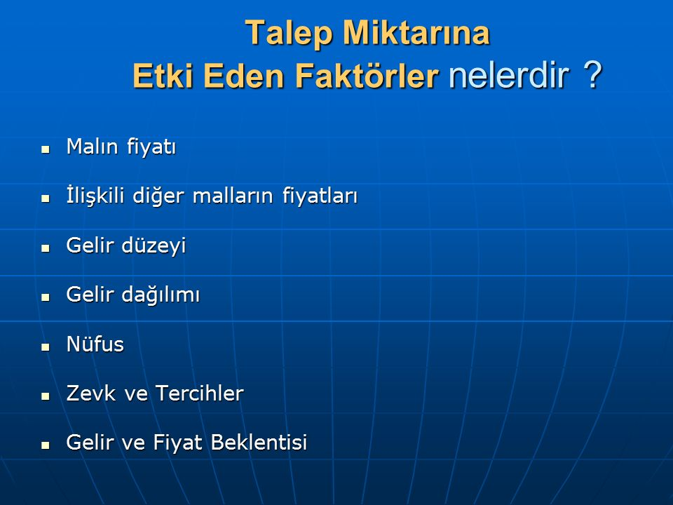 Talep Fonksiyonu Mtx= f( Fx, Fr, Ft, G, T, Fb,N,..) Mtx= f( Fx, Fr, Ft, G, T, Fb,N,..)