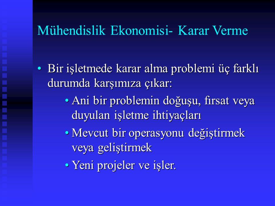 Mühendislik Ekonomisi- Karar Verme Bir işletmede karar alma problemi üç farklı durumda karşımıza çıkar:Bir işletmede karar alma problemi üç farklı dur