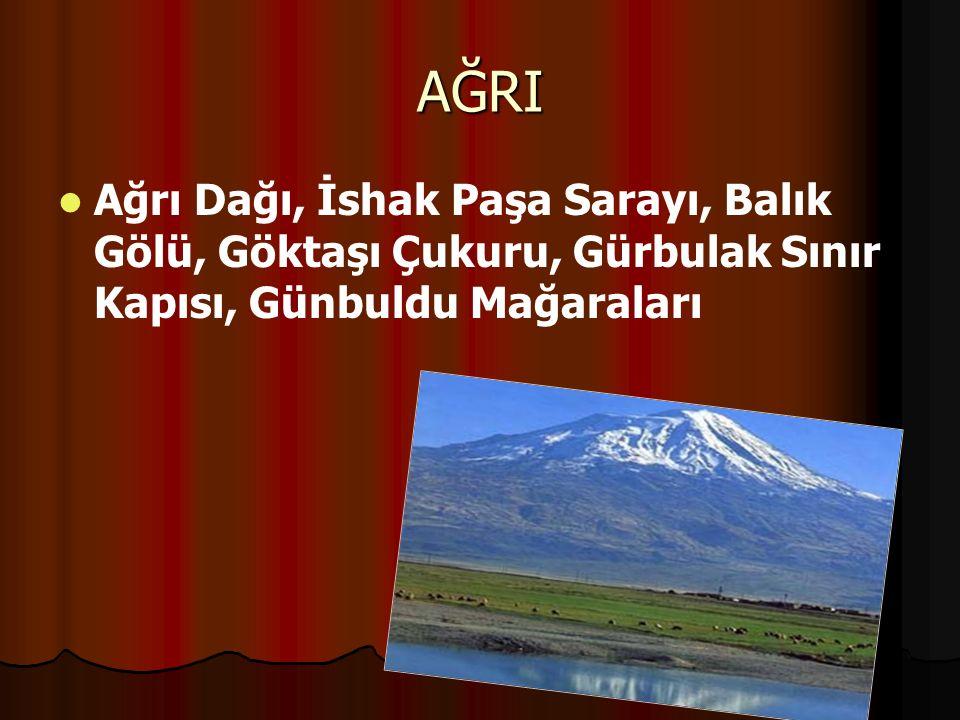 AĞRI Ağrı Dağı, İshak Paşa Sarayı, Balık Gölü, Göktaşı Çukuru, Gürbulak Sınır Kapısı, Günbuldu Mağaraları