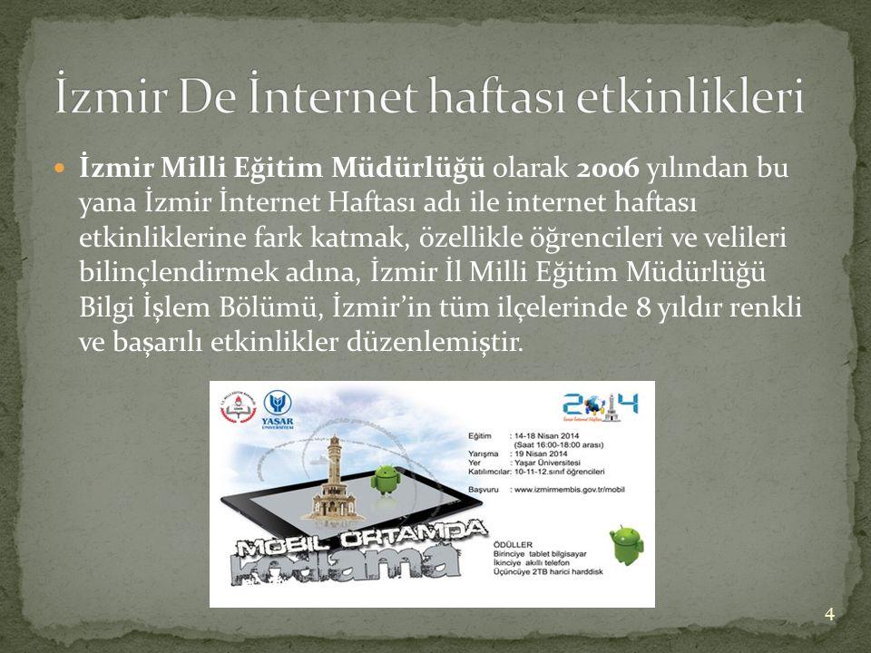 İzmir Milli Eğitim Müdürlüğü olarak 2006 yılından bu yana İzmir İnternet Haftası adı ile internet haftası etkinliklerine fark katmak, özellikle öğrencileri ve velileri bilinçlendirmek adına, İzmir İl Milli Eğitim Müdürlüğü Bilgi İşlem Bölümü, İzmir'in tüm ilçelerinde 8 yıldır renkli ve başarılı etkinlikler düzenlemiştir.