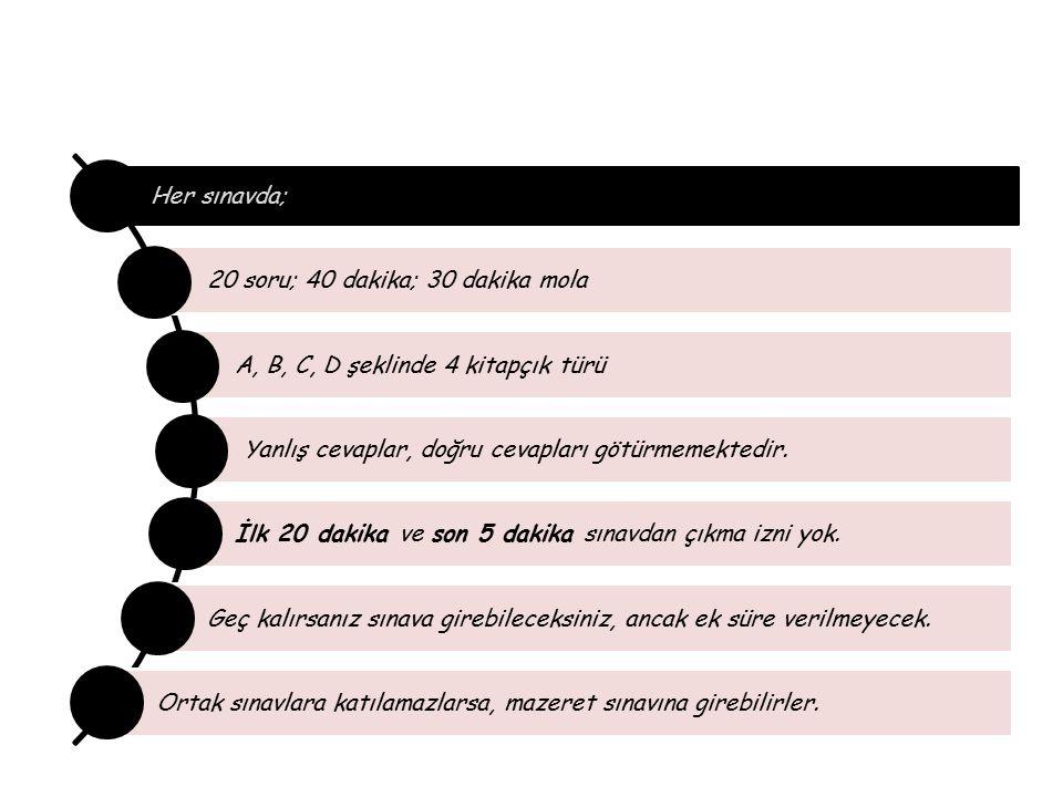 MİLLÎ EĞİTİM BAKANLIĞI Her sınavda; 20 soru; 40 dakika; 30 dakika mola A, B, C, D şeklinde 4 kitapçık türü Yanlış cevaplar, doğru cevapları götürmemek