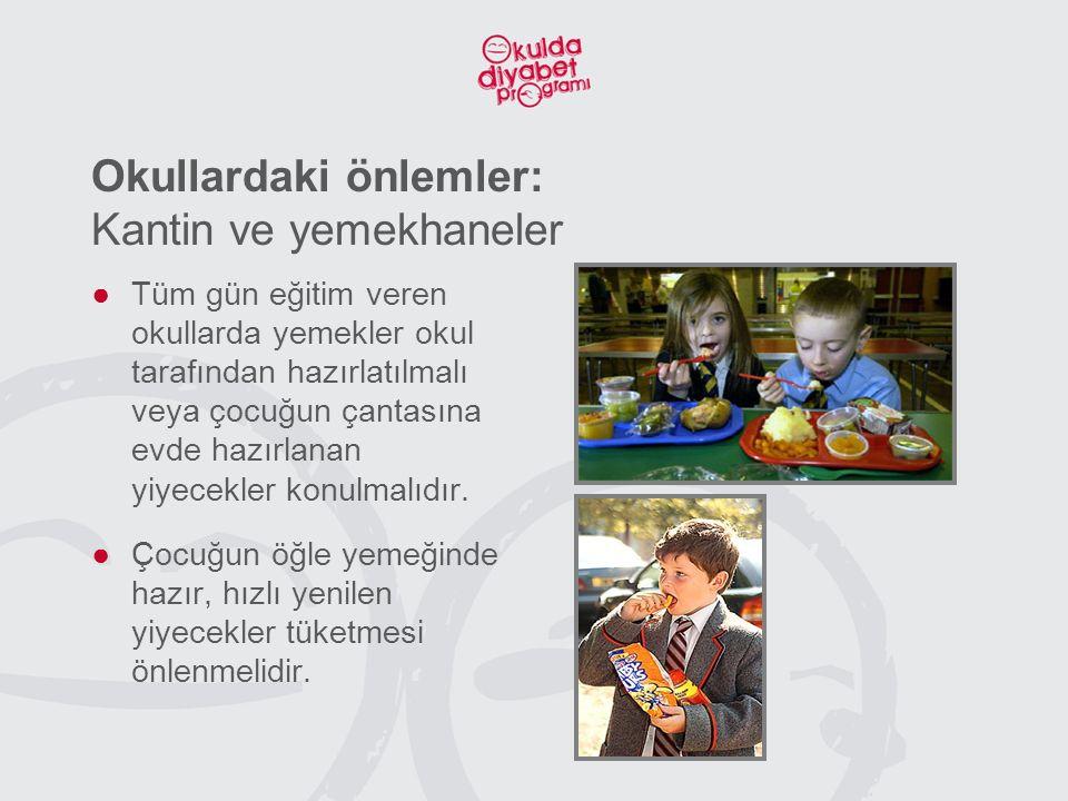 Okullardaki önlemler: Kantin ve yemekhaneler ●Tüm gün eğitim veren okullarda yemekler okul tarafından hazırlatılmalı veya çocuğun çantasına evde hazırlanan yiyecekler konulmalıdır.