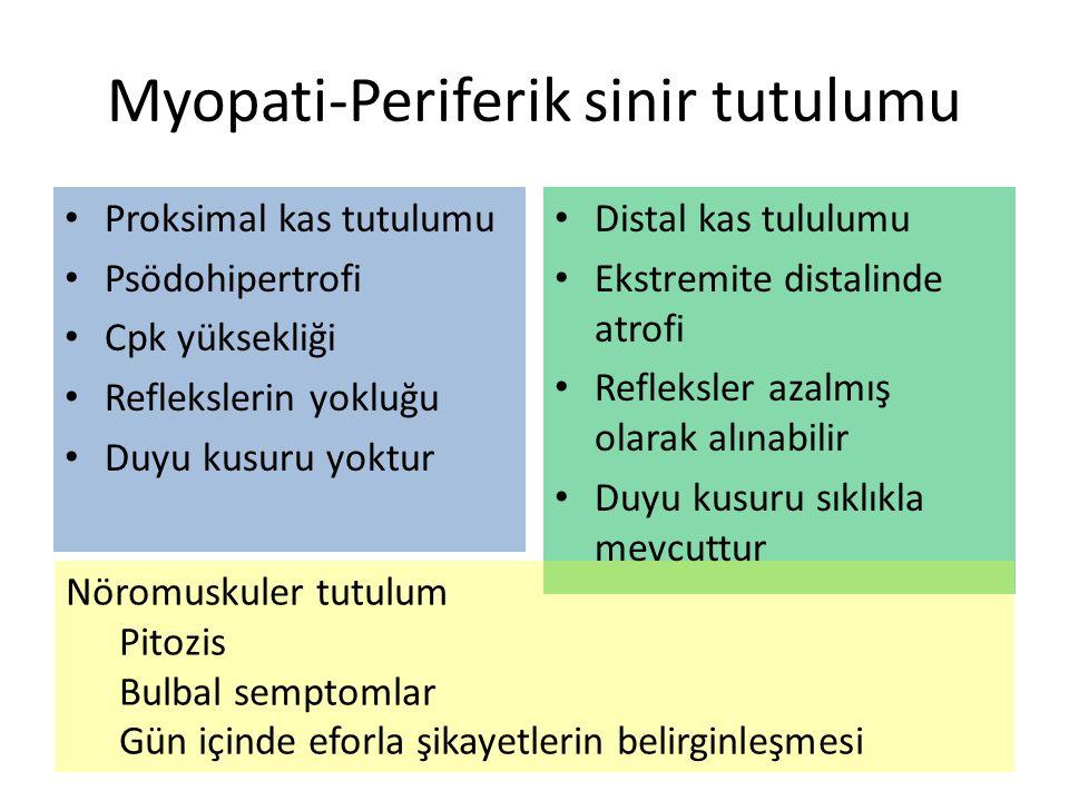 Myopati-Periferik sinir tutulumu Proksimal kas tutulumu Psödohipertrofi Cpk yüksekliği Reflekslerin yokluğu Duyu kusuru yoktur Distal kas tululumu Ekstremite distalinde atrofi Refleksler azalmış olarak alınabilir Duyu kusuru sıklıkla mevcuttur Nöromuskuler tutulum Pitozis Bulbal semptomlar Gün içinde eforla şikayetlerin belirginleşmesi