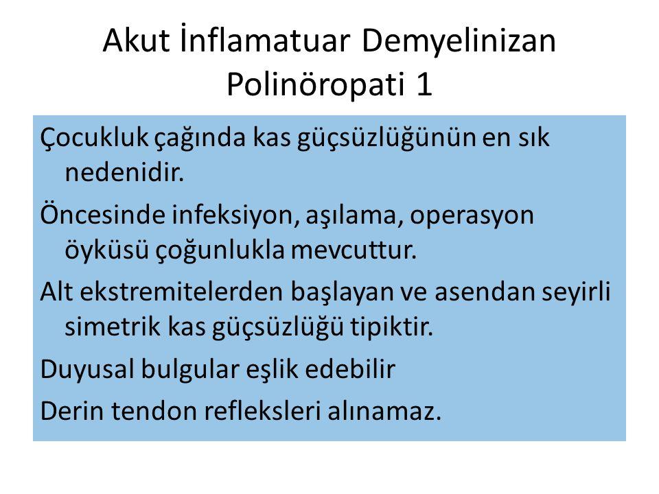 Akut İnflamatuar Demyelinizan Polinöropati 1 Çocukluk çağında kas güçsüzlüğünün en sık nedenidir.