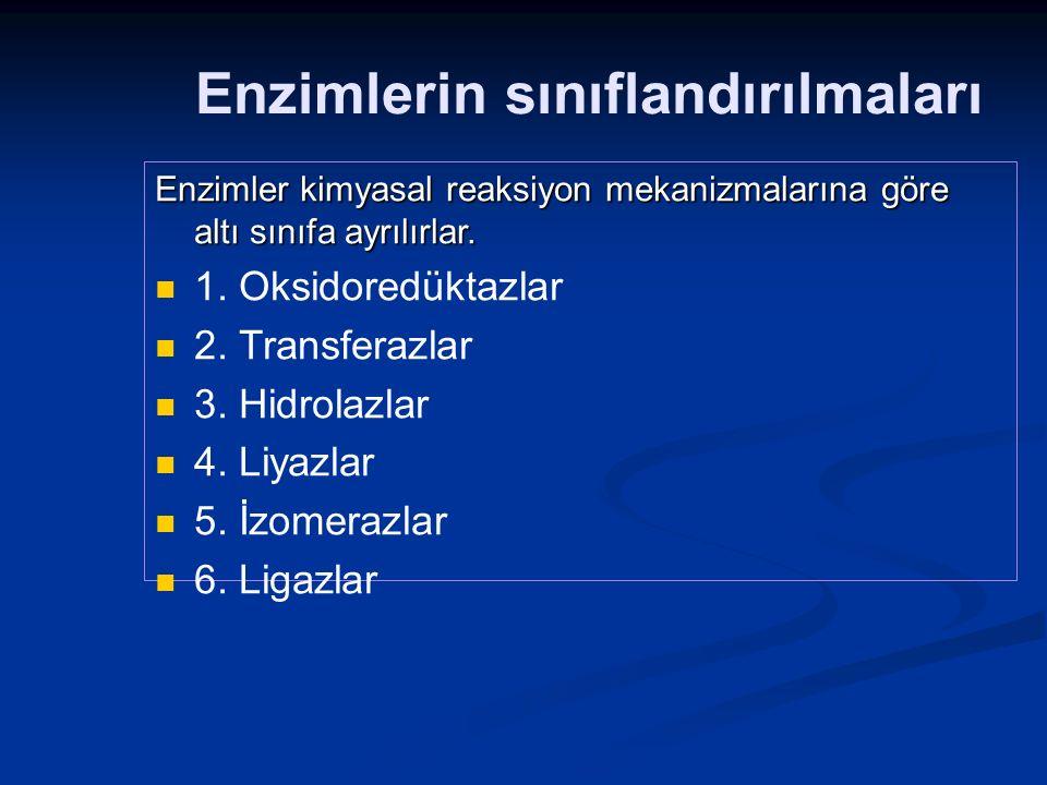 Enzimlerin sınıflandırılmaları Enzimler kimyasal reaksiyon mekanizmalarına göre altı sınıfa ayrılırlar. 1. Oksidoredüktazlar 2. Transferazlar 3. Hidro