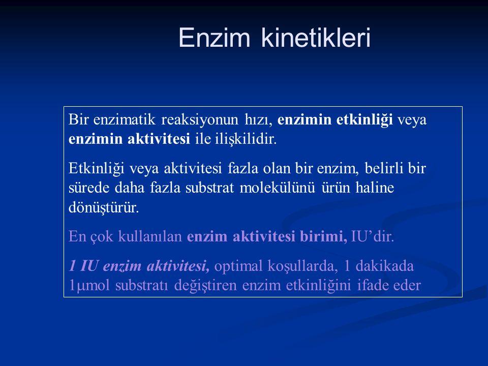 Enzim kinetikleri Bir enzimatik reaksiyonun hızı, enzimin etkinliği veya enzimin aktivitesi ile ilişkilidir. Etkinliği veya aktivitesi fazla olan bir