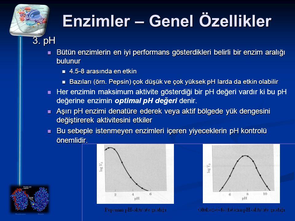 Enzimler – Genel Özellikler 3. pH Bütün enzimlerin en iyi performans gösterdikleri belirli bir enzim aralığı bulunur Bütün enzimlerin en iyi performan