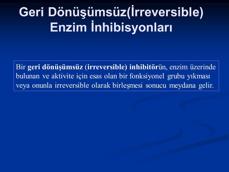 Geri Dönüşümsüz(İrreversible) Enzim İnhibisyonları Bir geri dönüşümsüz (irreversible) inhibitörün, enzim üzerinde bulunan ve aktivite için esas olan b