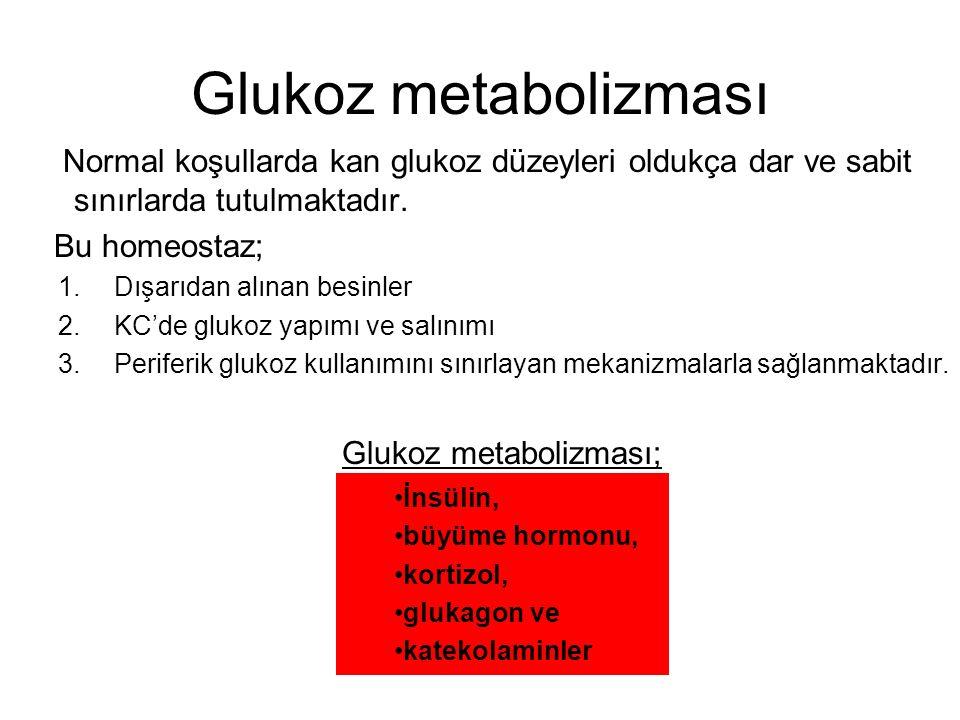 Glukoz metabolizması Normal koşullarda kan glukoz düzeyleri oldukça dar ve sabit sınırlarda tutulmaktadır.