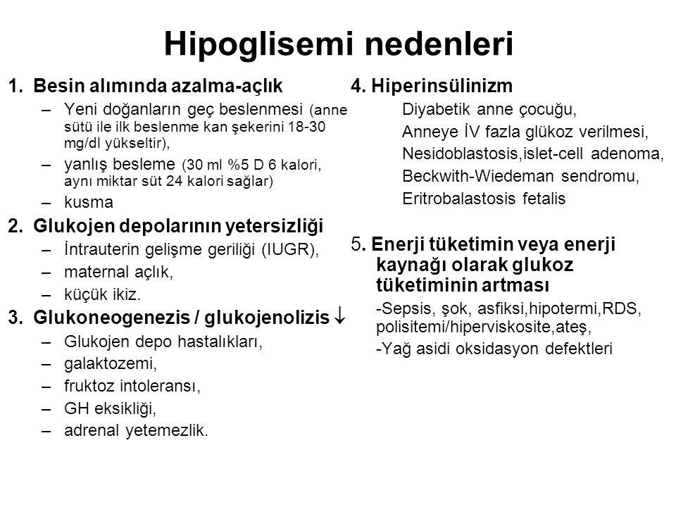 Hipoglisemi nedenleri 1.Besin alımında azalma-açlık –Yeni doğanların geç beslenmesi (anne sütü ile ilk beslenme kan şekerini 18-30 mg/dl yükseltir), –yanlış besleme (30 ml %5 D 6 kalori, aynı miktar süt 24 kalori sağlar) –kusma 2.Glukojen depolarının yetersizliği –İntrauterin gelişme geriliği (IUGR), –maternal açlık, –küçük ikiz.