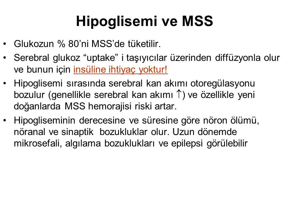 Hipoglisemi ve MSS Glukozun % 80'ni MSS'de tüketilir.