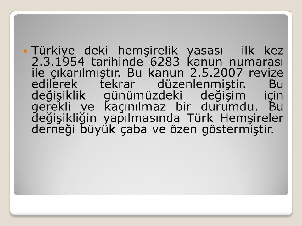 Türkiye deki hemşirelik yasası ilk kez 2.3.1954 tarihinde 6283 kanun numarası ile çıkarılmıştır.