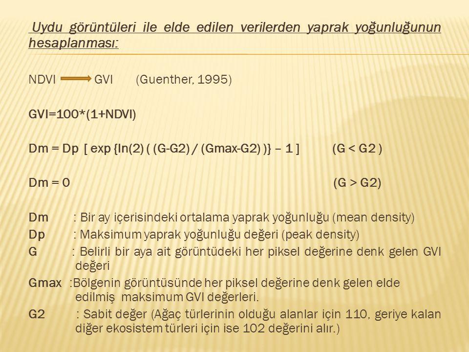 Uydu görüntüleri ile elde edilen verilerden yaprak yoğunluğunun hesaplanması: NDVI GVI (Guenther, 1995) GVI=100*(1+NDVI) Dm = Dp [ exp {ln(2) ( (G-G2)