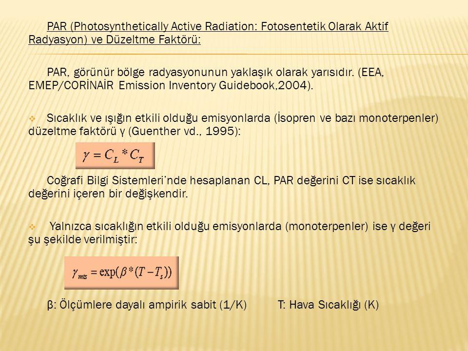 PAR (Photosynthetically Active Radiation: Fotosentetik Olarak Aktif Radyasyon) ve Düzeltme Faktörü: PAR, görünür bölge radyasyonunun yaklaşık olarak y