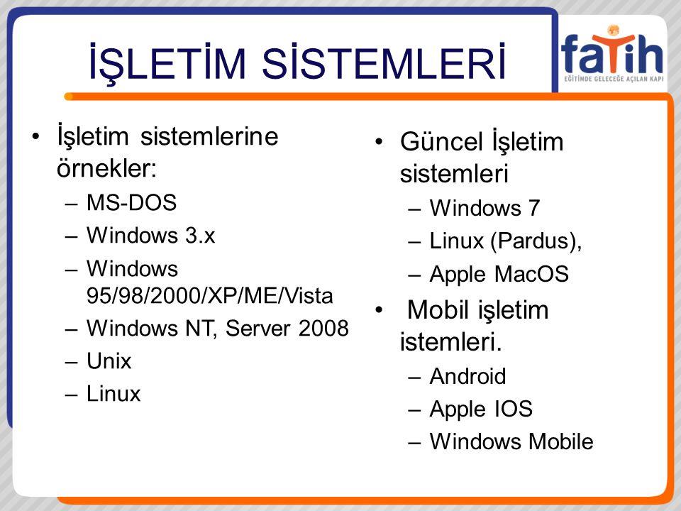 İŞLETİM SİSTEMLERİ İşletim sistemlerine örnekler: –MS-DOS –Windows 3.x –Windows 95/98/2000/XP/ME/Vista –Windows NT, Server 2008 –Unix –Linux Güncel İşletim sistemleri –Windows 7 –Linux (Pardus), –Apple MacOS Mobil işletim istemleri.