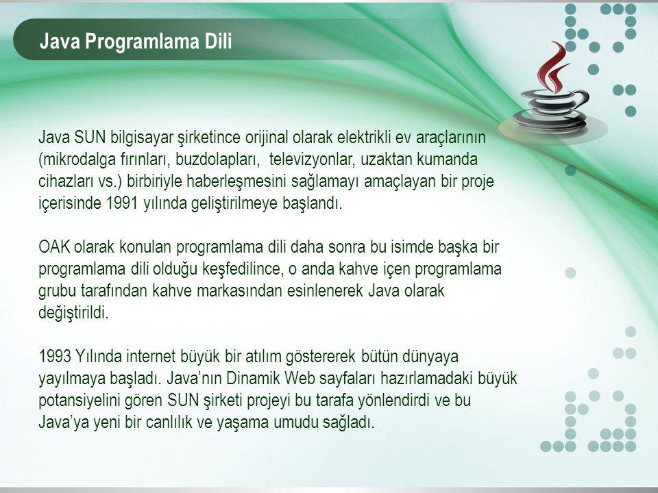 Java Programlama Dili Java SUN bilgisayar şirketince orijinal olarak elektrikli ev araçlarının (mikrodalga fırınları, buzdolapları, televizyonlar, uza