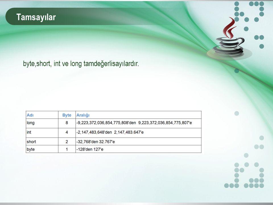 Tamsayılar byte,short, int ve long tamdeğerlisayılardır.