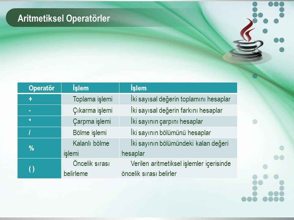 Aritmetiksel Operatörler Operatörİşlem + Toplama işlemiİki sayısal değerin toplamını hesaplar - Çıkarma işlemiİki sayısal değerin farkını hesaplar * Ç