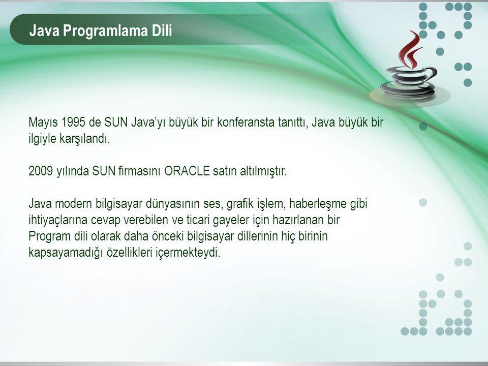 Java Programlama Dili Mayıs 1995 de SUN Java'yı büyük bir konferansta tanıttı, Java büyük bir ilgiyle karşılandı. 2009 yılında SUN firmasını ORACLE sa