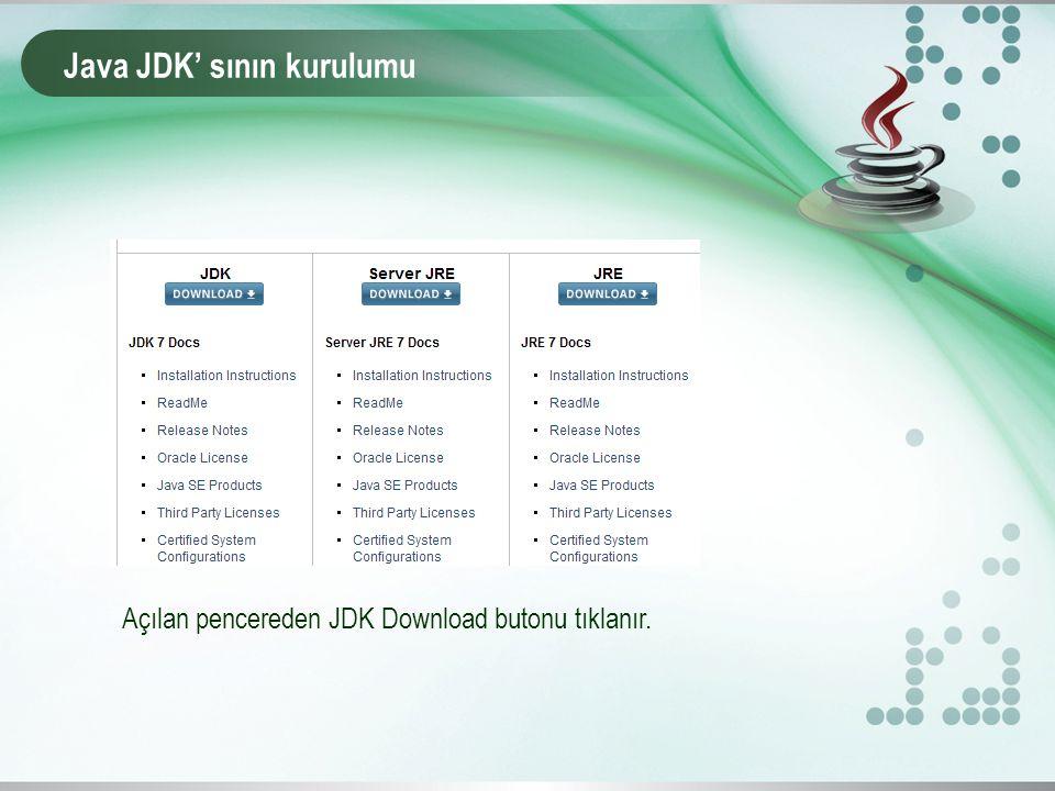 Java JDK' sının kurulumu Açılan pencereden JDK Download butonu tıklanır.