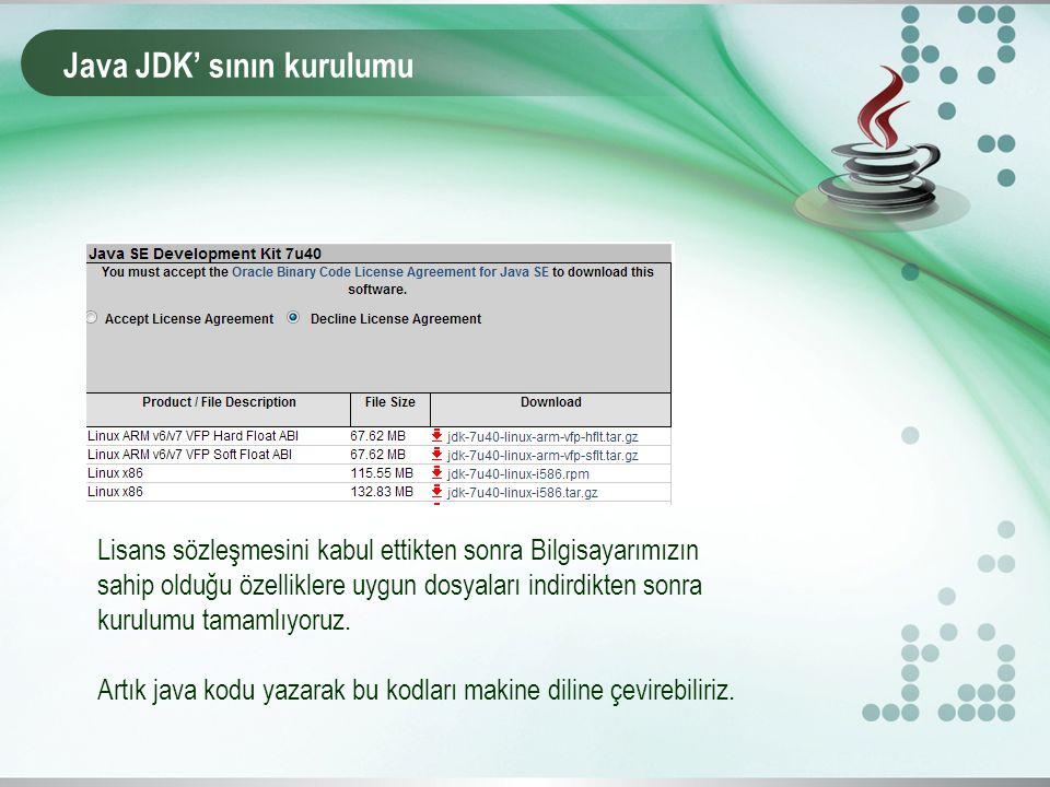 Java JDK' sının kurulumu Lisans sözleşmesini kabul ettikten sonra Bilgisayarımızın sahip olduğu özelliklere uygun dosyaları indirdikten sonra kurulumu