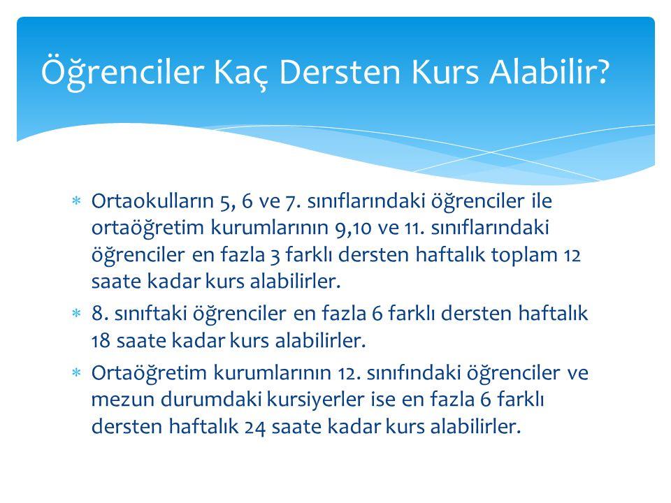  Ortaokulların 5, 6 ve 7. sınıflarındaki öğrenciler ile ortaöğretim kurumlarının 9,10 ve 11.