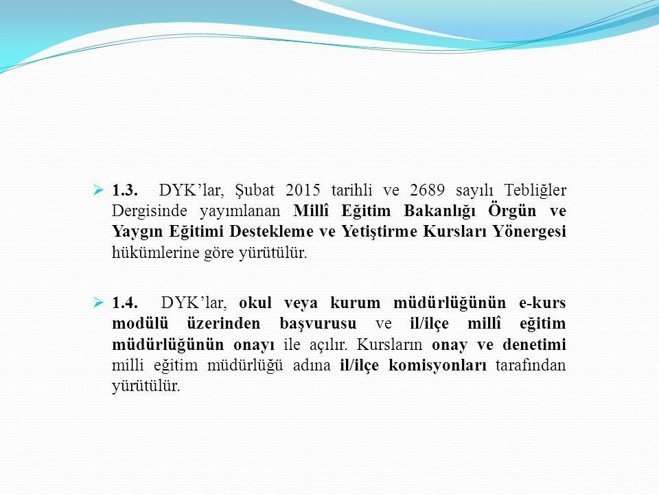  1.3. DYK'lar, Şubat 2015 tarihli ve 2689 sayılı Tebliğler Dergisinde yayımlanan Millî Eğitim Bakanlığı Örgün ve Yaygın Eğitimi Destekleme ve Yetişti