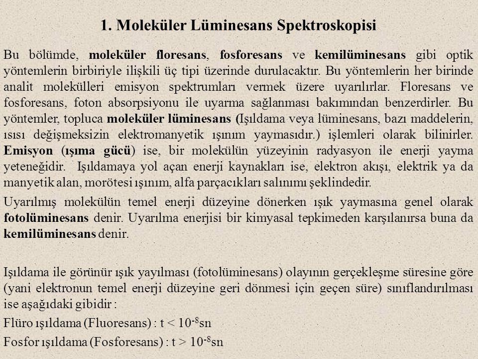 1. Moleküler Lüminesans Spektroskopisi Bu bölümde, moleküler floresans, fosforesans ve kemilüminesans gibi optik yöntemlerin birbiriyle ilişkili üç ti
