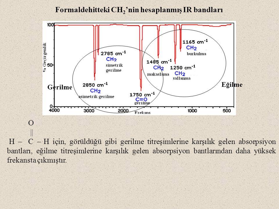 O || H ̶̶ C ̶̶ H için, görüldüğü gibi gerilme titreşimlerine karşılık gelen absorpsiyon bantları, eğilme titreşimlerine karşılık gelen absorpsiyon bantlarından daha yüksek frekansta çıkmıştır.