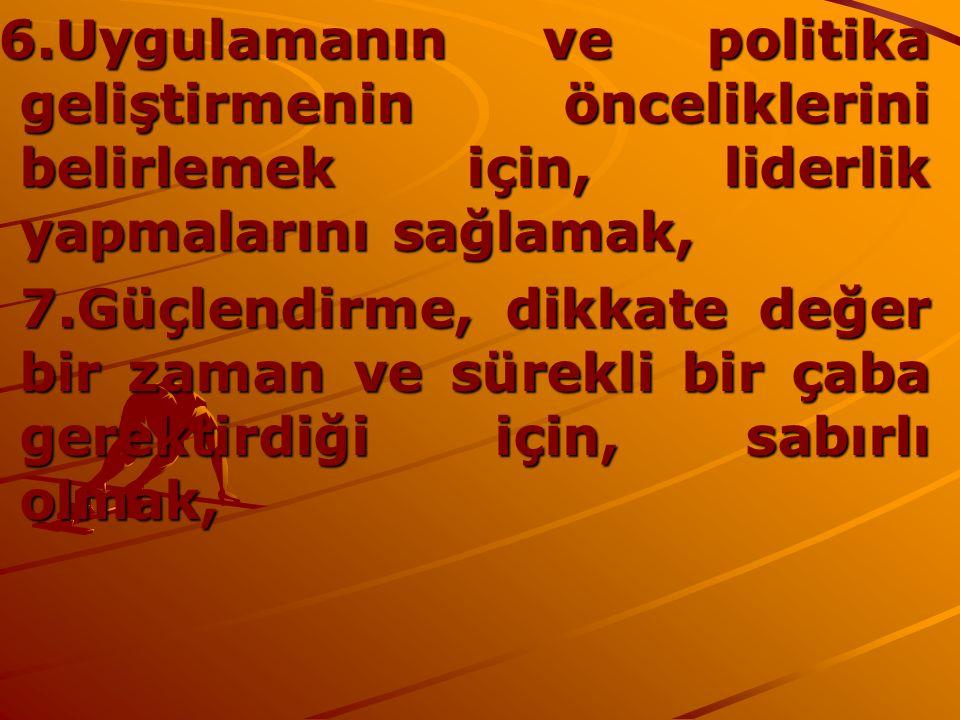 6.Uygulamanın ve politika geliştirmenin önceliklerini belirlemek için, liderlik yapmalarını sağlamak, 6.Uygulamanın ve politika geliştirmenin öncelikl