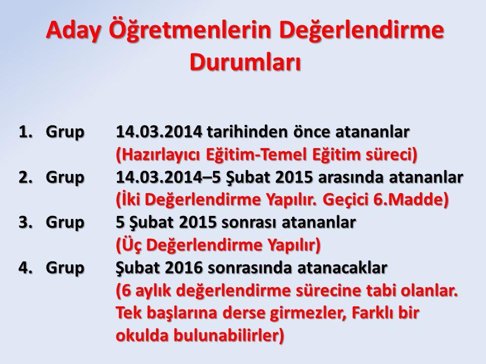 1.Grup14.03.2014 tarihinden önce atananlar (Hazırlayıcı Eğitim-Temel Eğitim süreci) 2.Grup14.03.2014–5 Şubat 2015 arasında atananlar (İki Değerlendirm