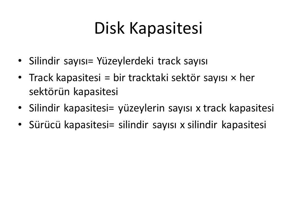 Disk Kapasitesi Silindir sayısı= Yüzeylerdeki track sayısı Track kapasitesi = bir tracktaki sektör sayısı × her sektörün kapasitesi Silindir kapasites