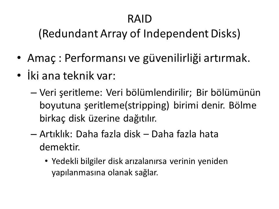 RAID (Redundant Array of Independent Disks) Amaç : Performansı ve güvenilirliği artırmak. İki ana teknik var: – Veri şeritleme: Veri bölümlendirilir;