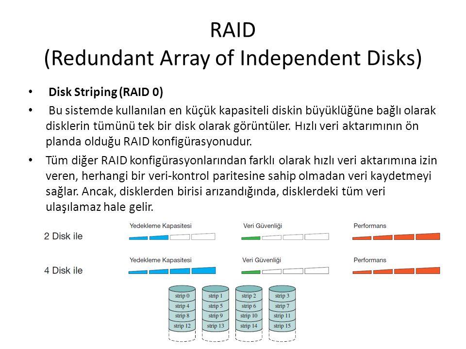 RAID (Redundant Array of Independent Disks) Disk Striping (RAID 0) Bu sistemde kullanılan en küçük kapasiteli diskin büyüklüğüne bağlı olarak diskleri
