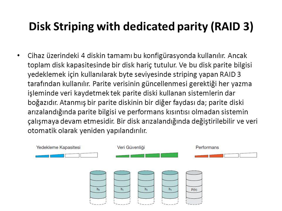 Disk Striping with dedicated parity (RAID 3) Cihaz üzerindeki 4 diskin tamamı bu konfigürasyonda kullanılır. Ancak toplam disk kapasitesinde bir disk