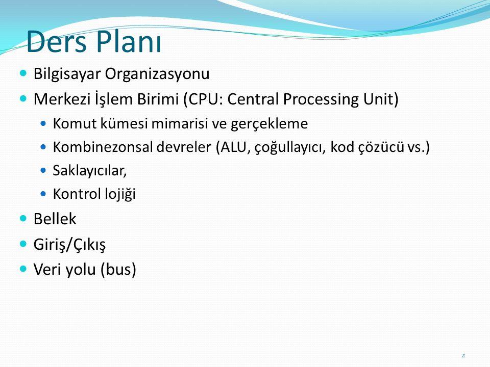 Ders Planı Bilgisayar Organizasyonu Merkezi İşlem Birimi (CPU: Central Processing Unit) Komut kümesi mimarisi ve gerçekleme Kombinezonsal devreler (AL