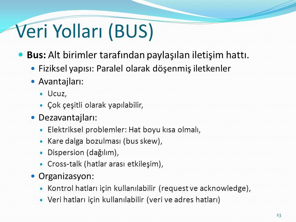 Veri Yolları (BUS) Bus: Alt birimler tarafından paylaşılan iletişim hattı. Fiziksel yapısı: Paralel olarak döşenmiş iletkenler Avantajları: Ucuz, Çok