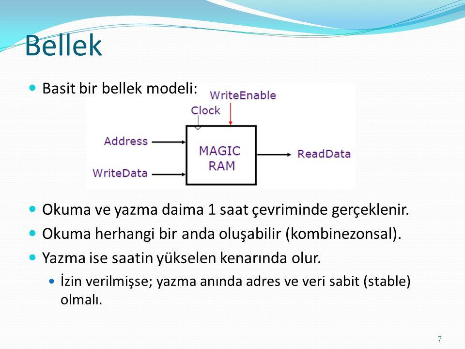 Örnek: MIPS 32 ISA İşlemci: 32 adet 32 bit GPR, R0 daima 0 (sıfır), 16 double-precision 32 single-precision FPR Program sayacı (PC), durum saklayıcısı (SR) ve bazı özel saklayıcılar, Veri tipleri: 8-bit (byte), 16-bit (half word) 32 bit-word tamsayılar için, 32-bit word single precision reel sayılar için, 64 bir double-word precision reel sayılar için, Load/Store türü komutlar: Veri adresleme modları: ivedi (immediate) ve sıralı (indexed), Dallanma adresleme modları: PC-bağıl ve dolaylı (register indirect) Byte adreslenebilir bellek, big-endian mode Tüm komutlar 32 bit 8