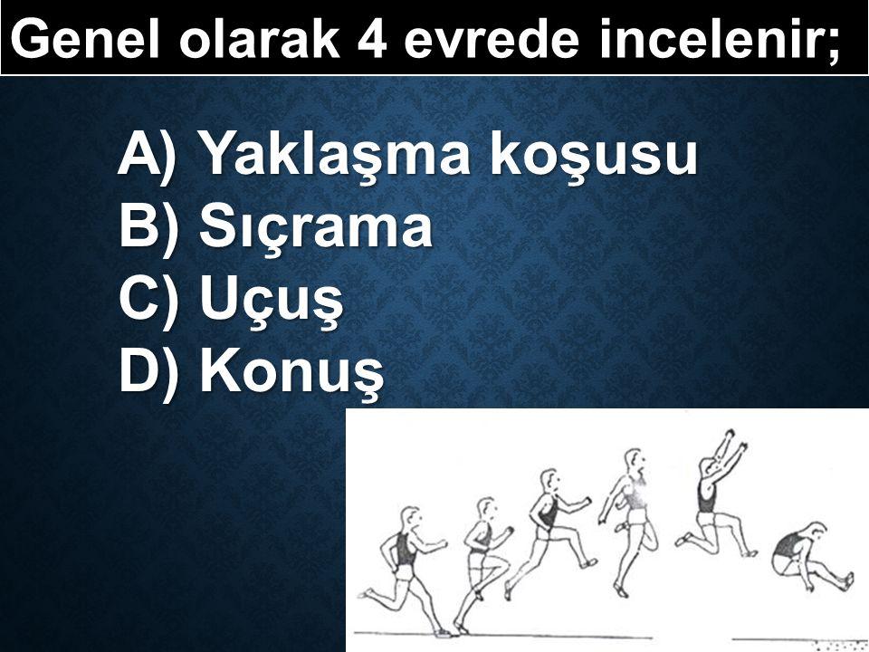 Genel olarak 4 evrede incelenir; A) Yaklaşma koşusu B) Sıçrama C) Uçuş D) Konuş