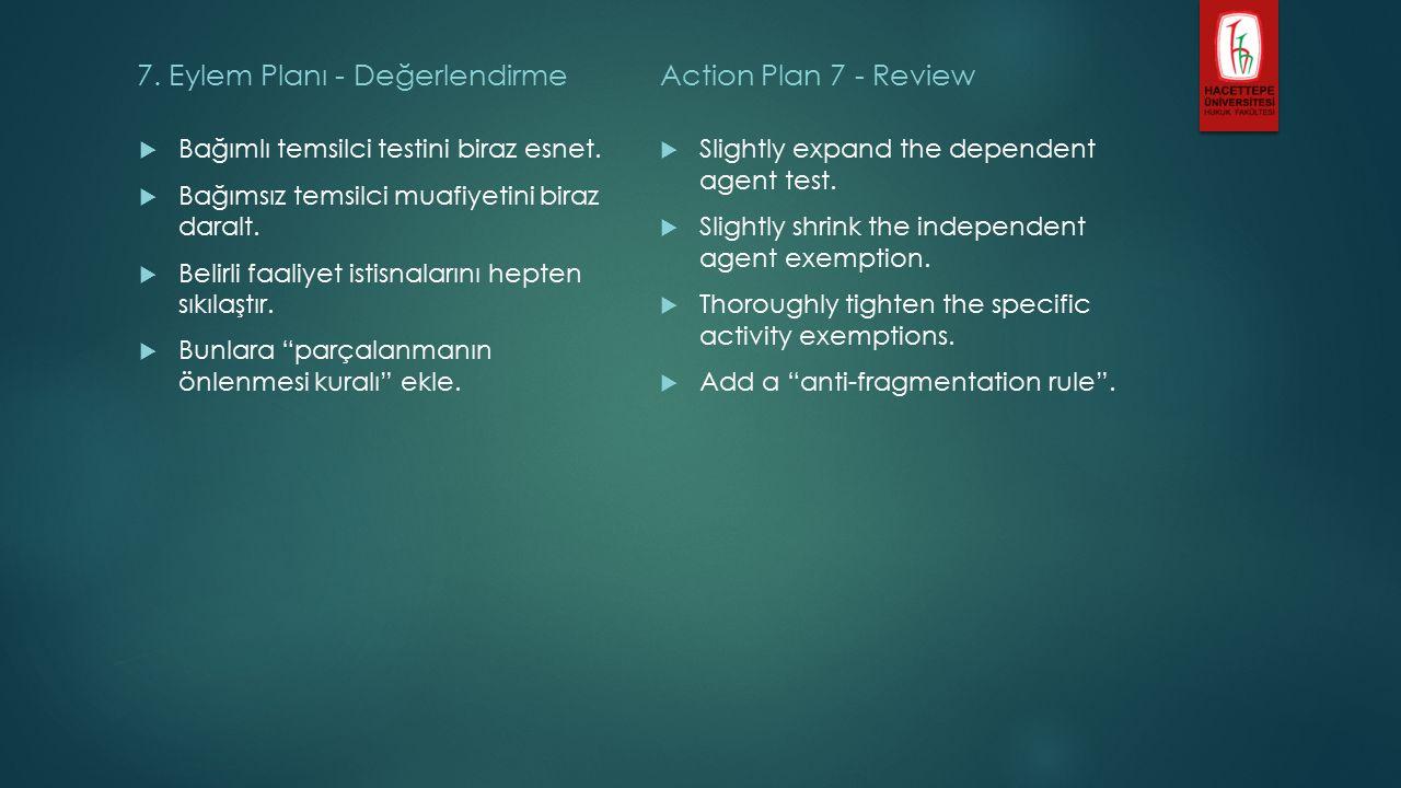 7. Eylem Planı - Değerlendirme  Bağımlı temsilci testini biraz esnet.
