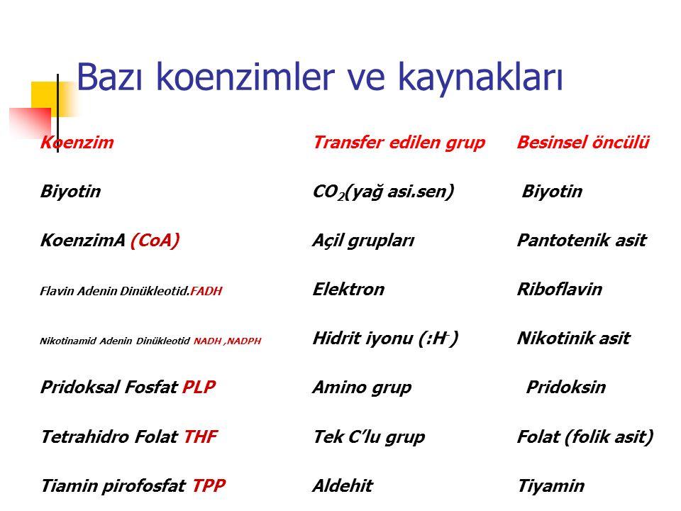 Bazı koenzimler ve kaynakları KoenzimTransfer edilen grupBesinsel öncülü BiyotinCO 2 (yağ asi.sen) Biyotin KoenzimA (CoA) Açil grupları Pantotenik asi