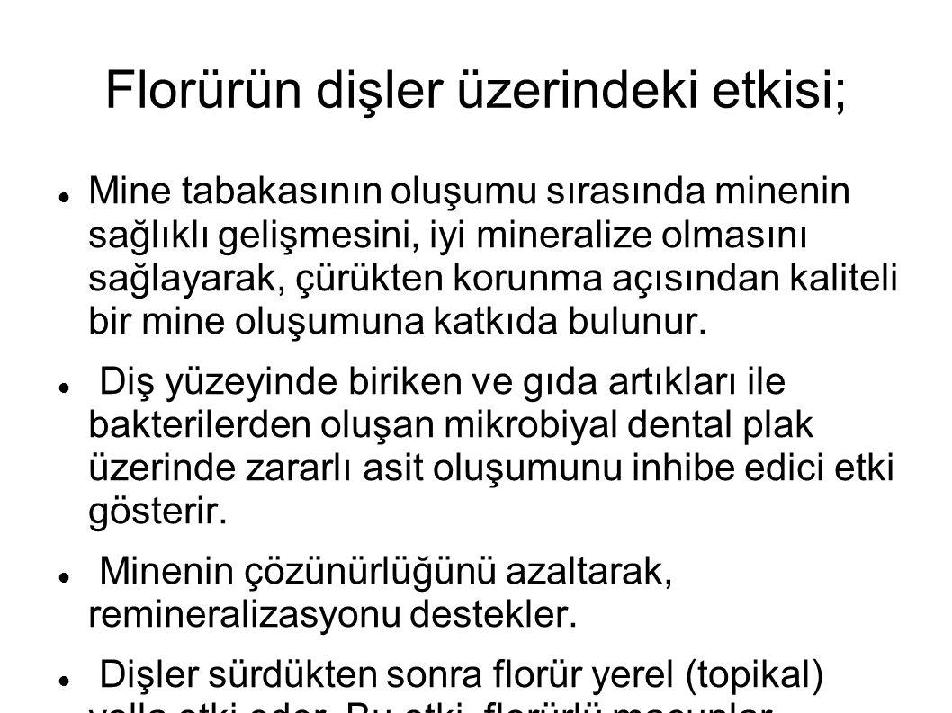 Florürün dişler üzerindeki etkisi; Mine tabakasının oluşumu sırasında minenin sağlıklı gelişmesini, iyi mineralize olmasını sağlayarak, çürükten korun