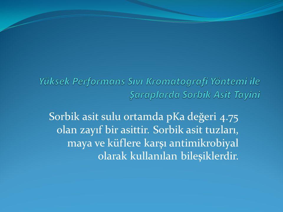 Sorbik asit sulu ortamda pKa değeri 4.75 olan zayıf bir asittir.